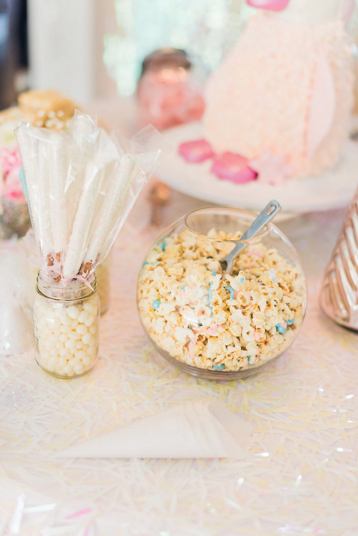 Popcorn and chocolate covered pretzel sticks from a Shimmery Winter Wonderland Party on Kara's Party Ideas | KarasPartyIdeas.com (28)