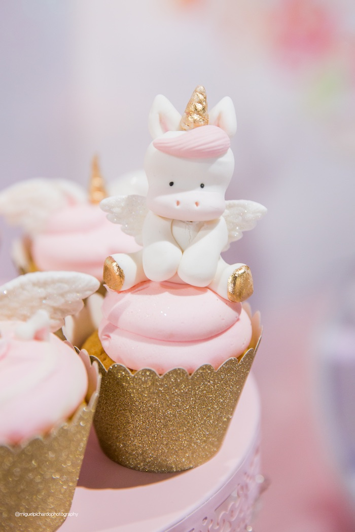 Unicorn Cupcakes from a Sparkly Baby Unicorn Birthday Party on Kara's Party Ideas | KarasPartyIdeas.com (13)
