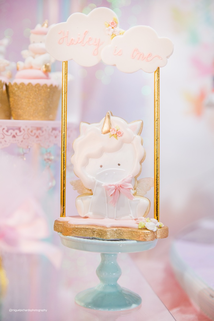 3D Baby Unicorn Cookie from a Sparkly Baby Unicorn Birthday Party on Kara's Party Ideas | KarasPartyIdeas.com (11)