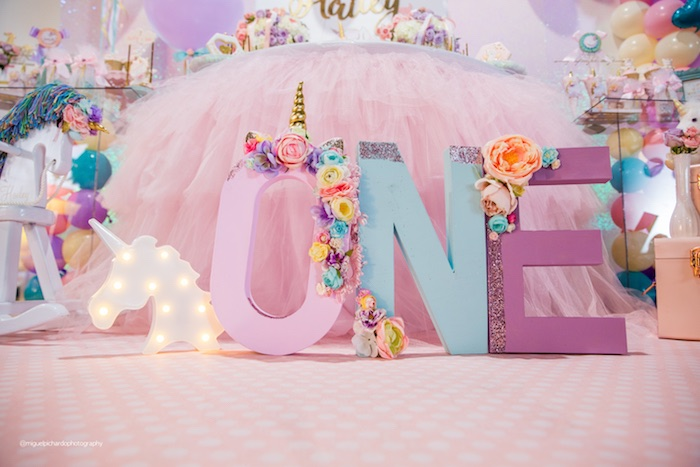 Unicorn Block Letters from a Sparkly Baby Unicorn Birthday Party on Kara's Party Ideas | KarasPartyIdeas.com (10)