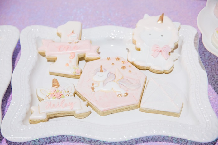 Unicorn Themed Sugar Cookies from a Sparkly Baby Unicorn Birthday Party on Kara's Party Ideas | KarasPartyIdeas.com (9)