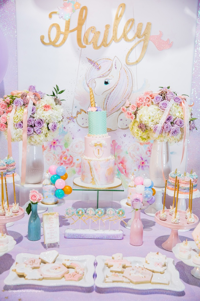 Unicorn Dessert Table from a Sparkly Baby Unicorn Birthday Party on Kara's Party Ideas | KarasPartyIdeas.com (8)