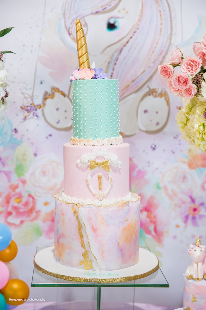 Watercolor Unicorn Cake from a Sparkly Baby Unicorn Birthday Party on Kara's Party Ideas | KarasPartyIdeas.com (7)