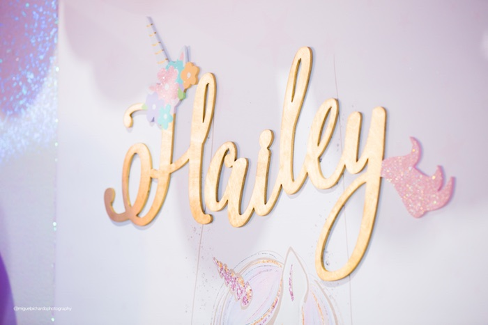 Backdrop Signage from a Sparkly Baby Unicorn Birthday Party on Kara's Party Ideas | KarasPartyIdeas.com (6)