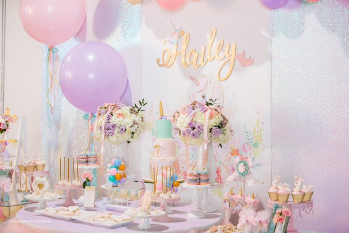 Dessert Table from a Sparkly Baby Unicorn Birthday Party on Kara's Party Ideas | KarasPartyIdeas.com (5)