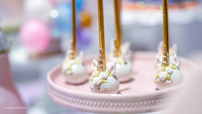 Unicorn Cake Pops from a Sparkly Baby Unicorn Birthday Party on Kara's Party Ideas | KarasPartyIdeas.com (22)
