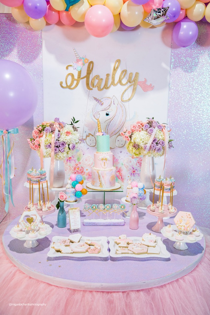 Unicorn Themed Dessert Table from a Sparkly Baby Unicorn Birthday Party on Kara's Party Ideas | KarasPartyIdeas.com (21)