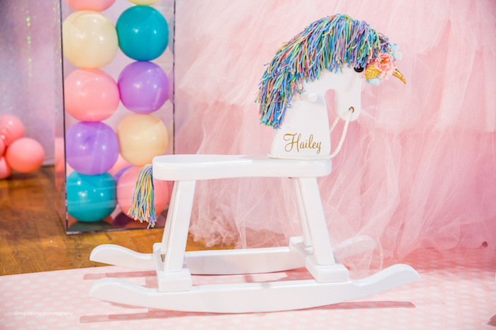 Personalized Rocking Horse from a Sparkly Baby Unicorn Birthday Party on Kara's Party Ideas | KarasPartyIdeas.com (20)