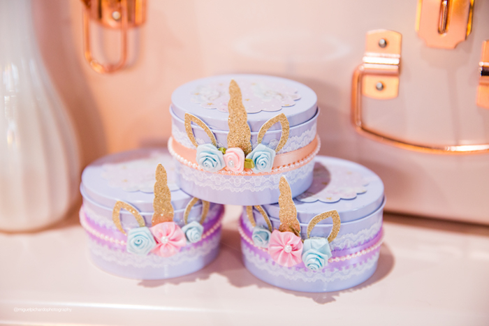 Frilly Unicorn Favor Boxes from a Sparkly Baby Unicorn Birthday Party on Kara's Party Ideas | KarasPartyIdeas.com (19)