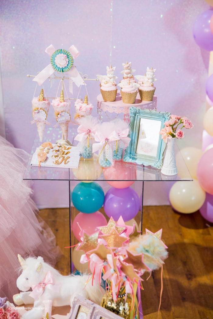 Balloon Pedestal Dessert Table from a Sparkly Baby Unicorn Birthday Party on Kara's Party Ideas | KarasPartyIdeas.com (18)