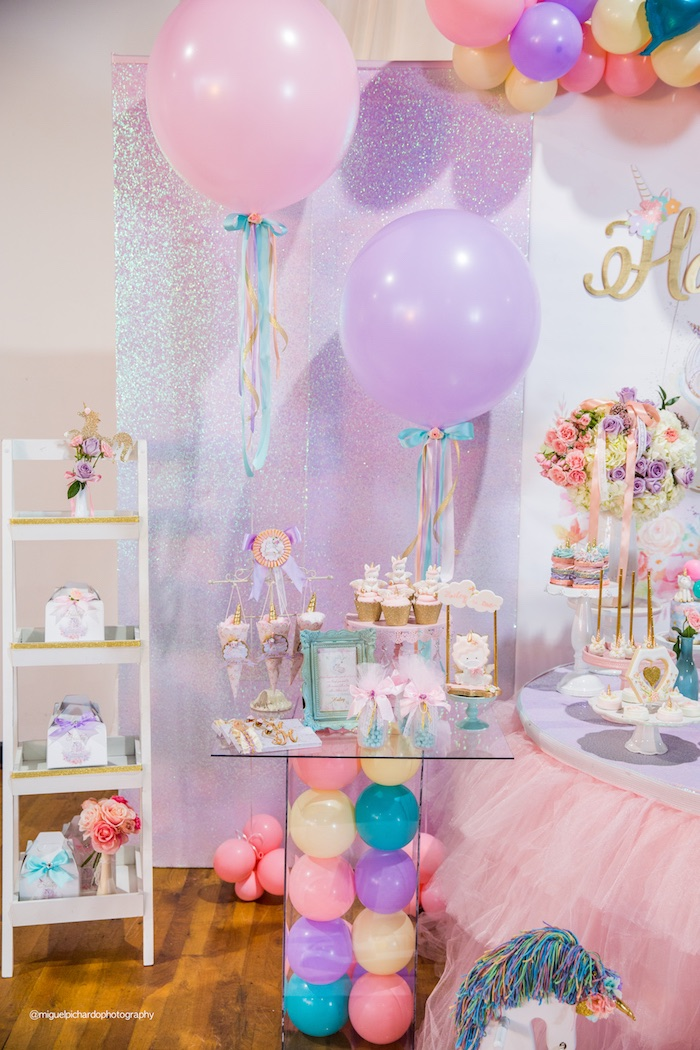 Balloon Pedestal Dessert Table from a Sparkly Baby Unicorn Birthday Party on Kara's Party Ideas | KarasPartyIdeas.com (17)