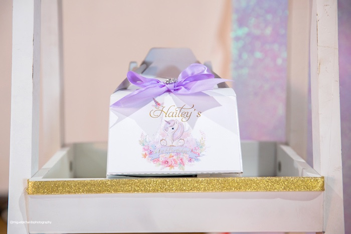 Unicorn Gable Boxes from a Sparkly Baby Unicorn Birthday Party on Kara's Party Ideas | KarasPartyIdeas.com (16)