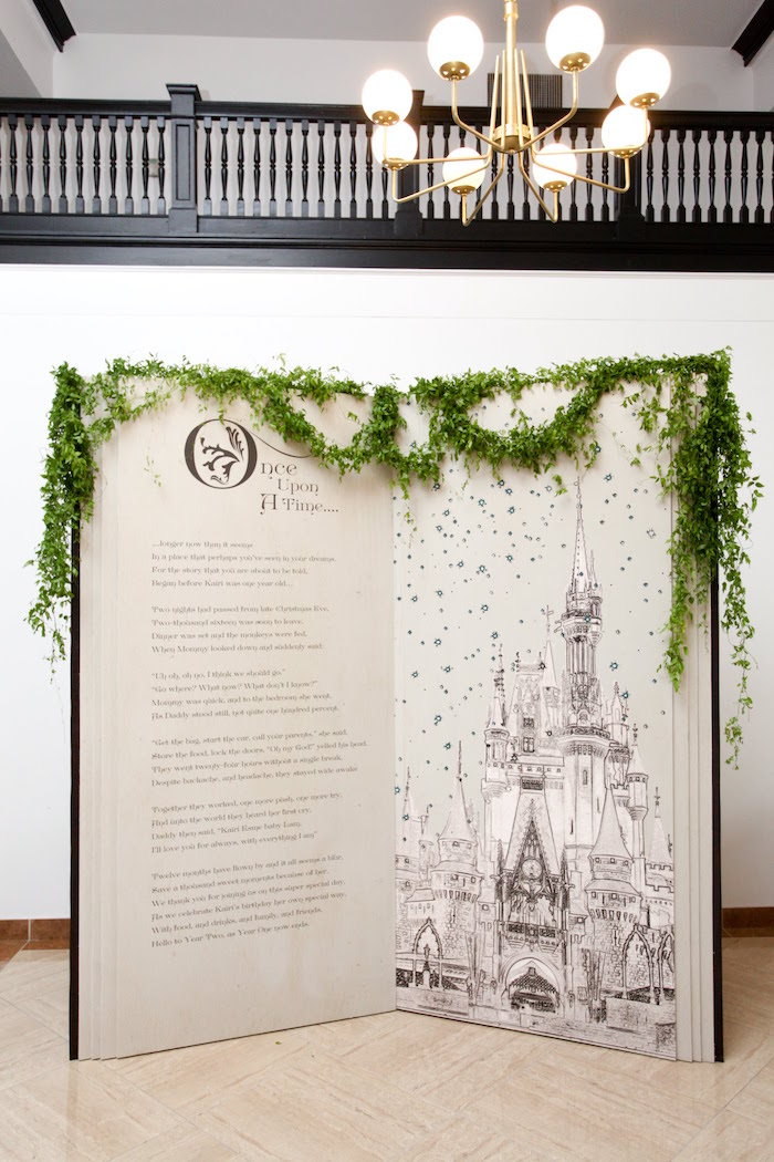Storybook Backdrop from a Storybook First Birthday Party on Kara's Party Ideas | KarasPartyIdeas.com (11)