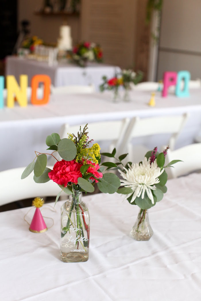 Floral Centerpieces from a Storybook First Birthday Party on Kara's Party Ideas | KarasPartyIdeas.com (9)