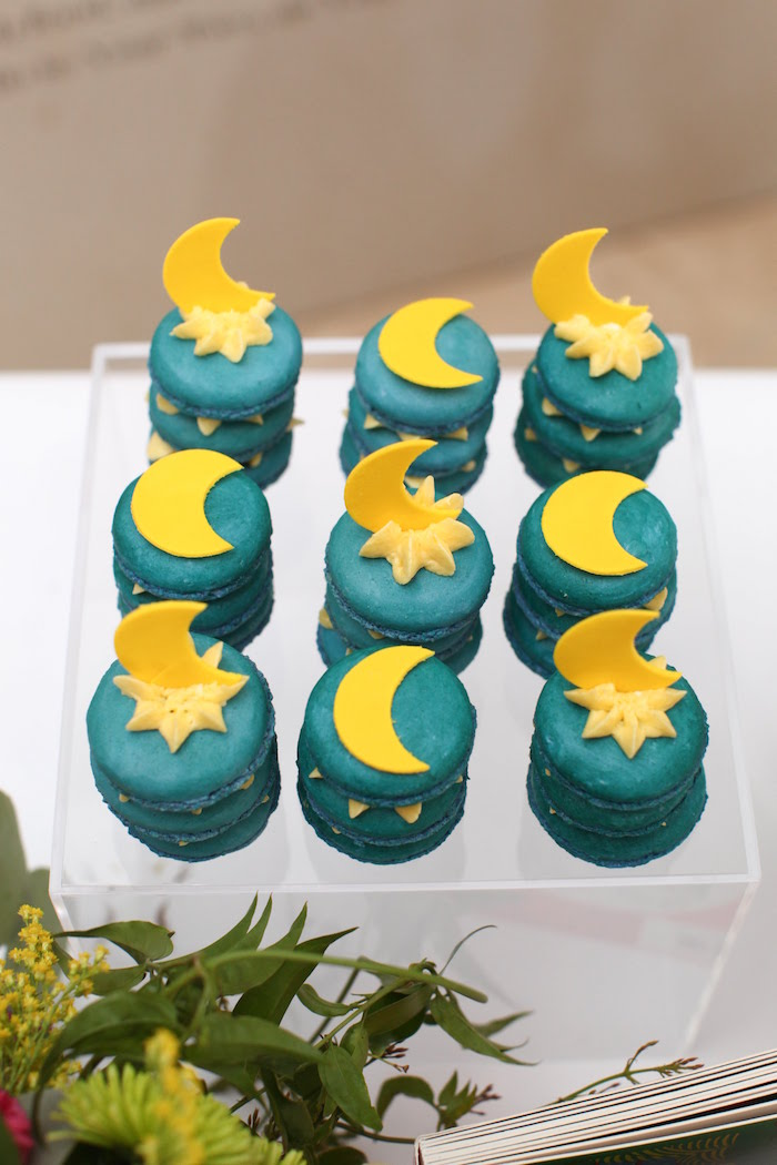 Fairytale Night Sky Macarons from a Storybook First Birthday Party on Kara's Party Ideas | KarasPartyIdeas.com (5)
