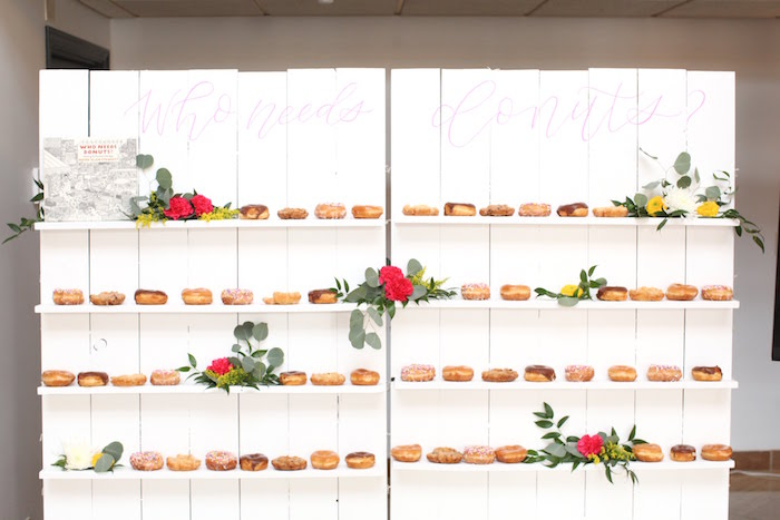 Doughnut Wall from a Storybook First Birthday Party on Kara's Party Ideas | KarasPartyIdeas.com (26)