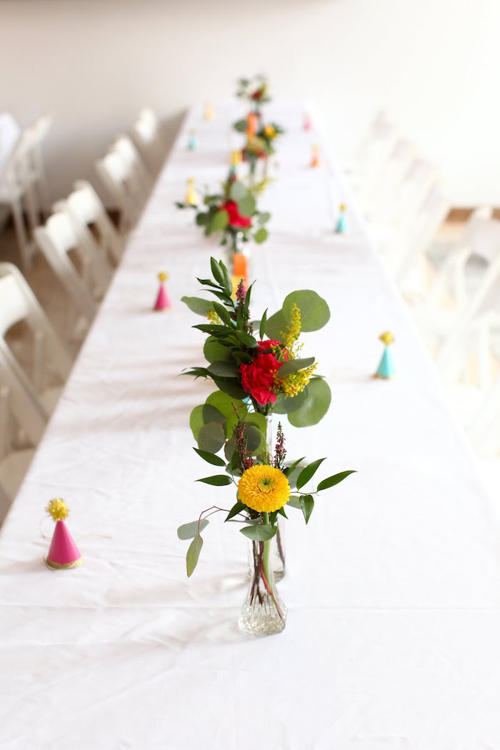 Floral guest tablescape from a Storybook First Birthday Party on Kara's Party Ideas | KarasPartyIdeas.com (22)