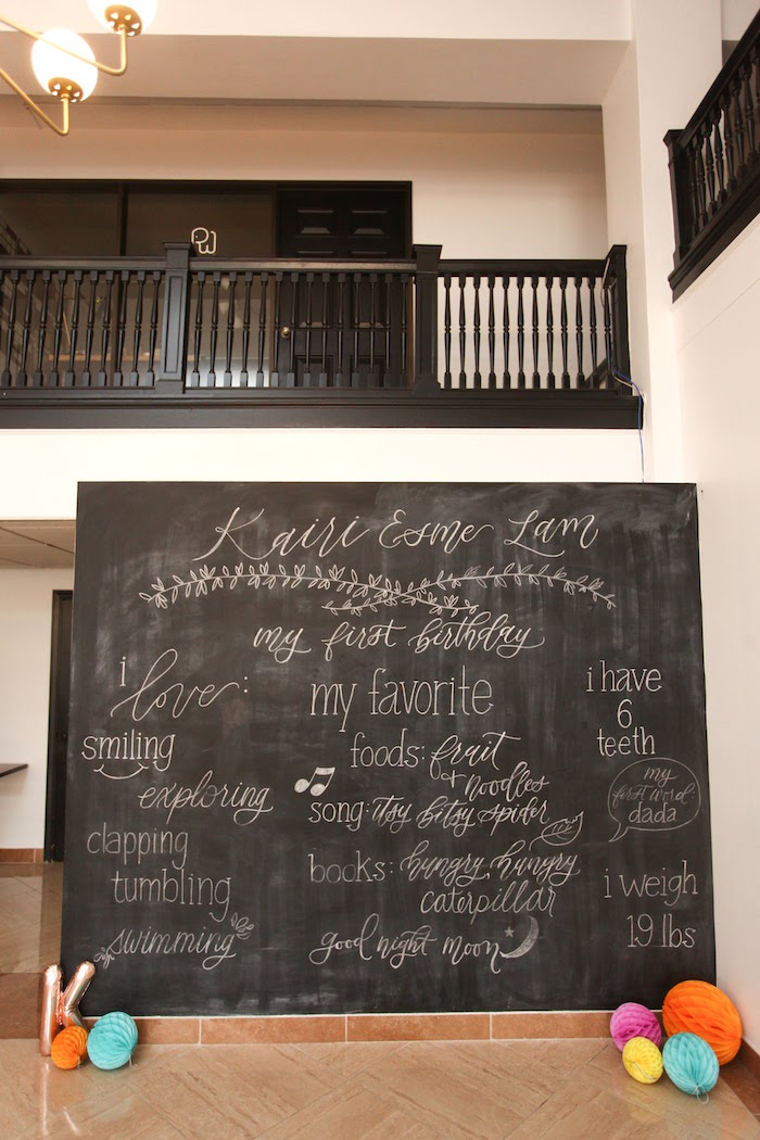 """My Favorite"" Blackboard Backdrop from a Storybook First Birthday Party on Kara's Party Ideas 