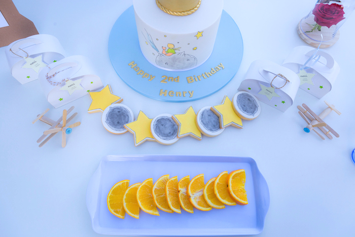 Moon + Star Cookies & Orange Slices from The Little Prince Birthday Party on Kara's Party Ideas | KarasPartyIdeas.com (9)