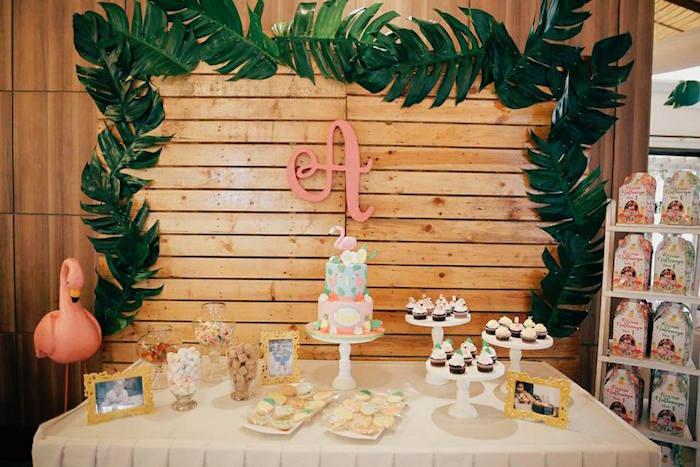 Flamingo Themed Dessert Table from a Tropical Flamingo Birthday Party on Kara's Party Ideas | KarasPartyIdeas.com (10)