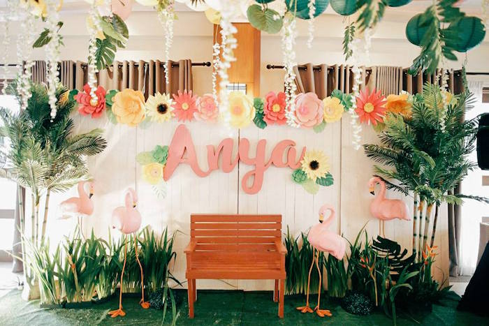 Flamingo Backdrop from a Tropical Flamingo Birthday Party on Kara's Party Ideas | KarasPartyIdeas.com (8)