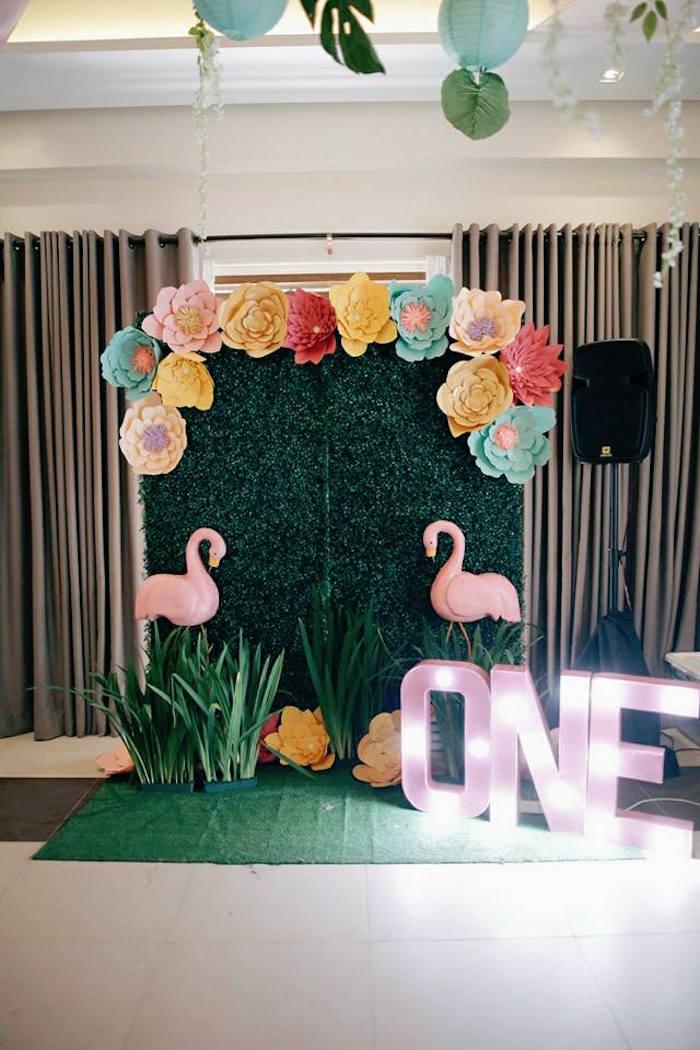 Flamingo Backdrop + Photo Booth from a Tropical Flamingo Birthday Party on Kara's Party Ideas | KarasPartyIdeas.com (7)