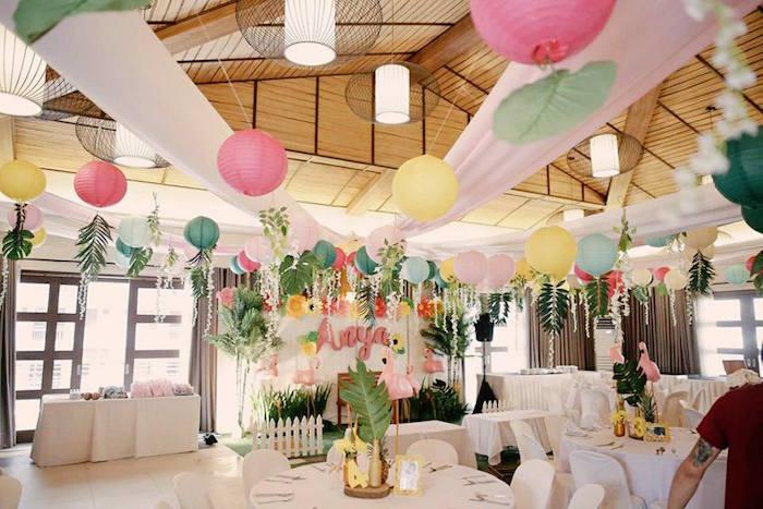 Party tables + backdrop from a Tropical Flamingo Birthday Party on Kara's Party Ideas | KarasPartyIdeas.com (6)