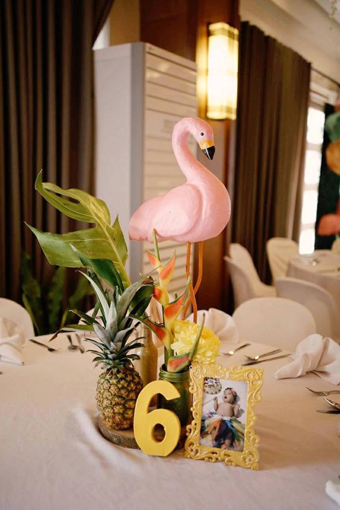 Flamingo Table Centerpiece from a Tropical Flamingo Birthday Party on Kara's Party Ideas | KarasPartyIdeas.com (4)