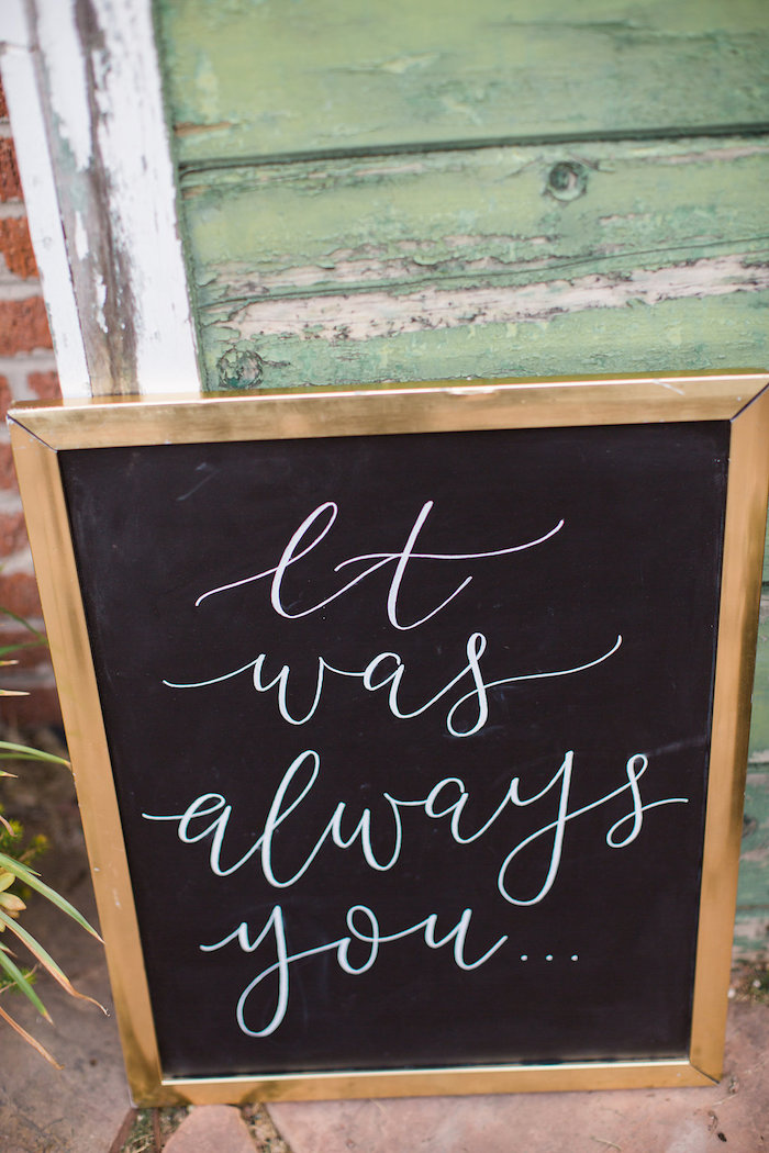 It Was Always You Chalkboard Sign from an Umbrella Bridal Shower on Kara's Party Ideas | KarasPartyIdeas.com (23)
