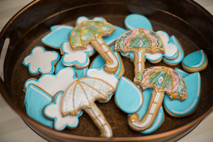 Umbrella + Rainstorm Cookies from an Umbrella Bridal Shower on Kara's Party Ideas | KarasPartyIdeas.com (22)