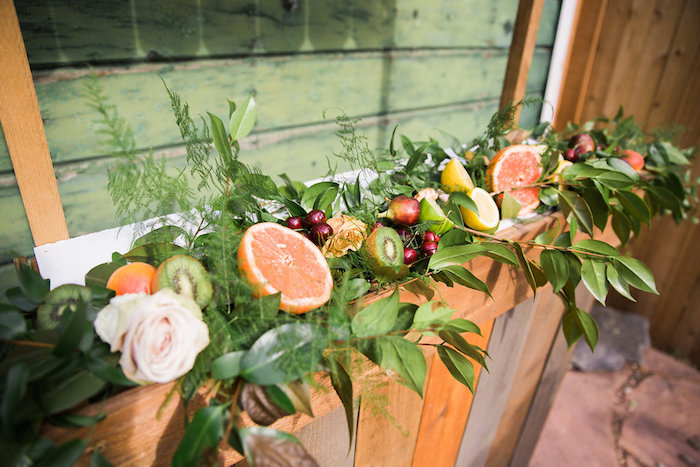 Floral Fruit Installation from an Umbrella Bridal Shower on Kara's Party Ideas | KarasPartyIdeas.com (21)