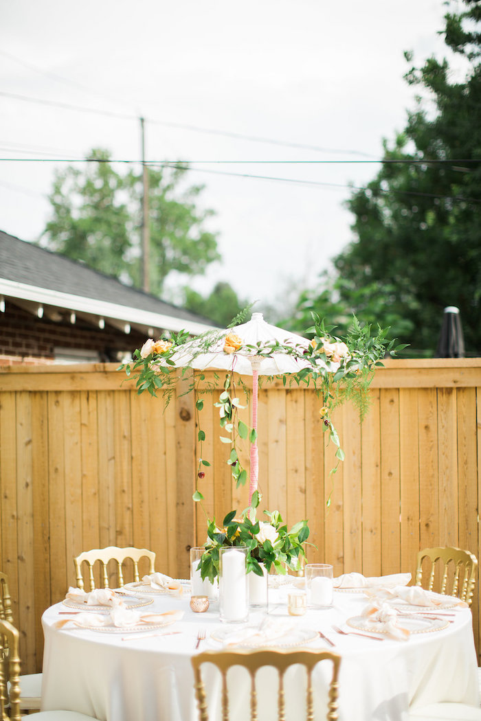 Garden Guest Table with Umbrella Centerpiece/Canopy from an Umbrella Bridal Shower on Kara's Party Ideas | KarasPartyIdeas.com (20)