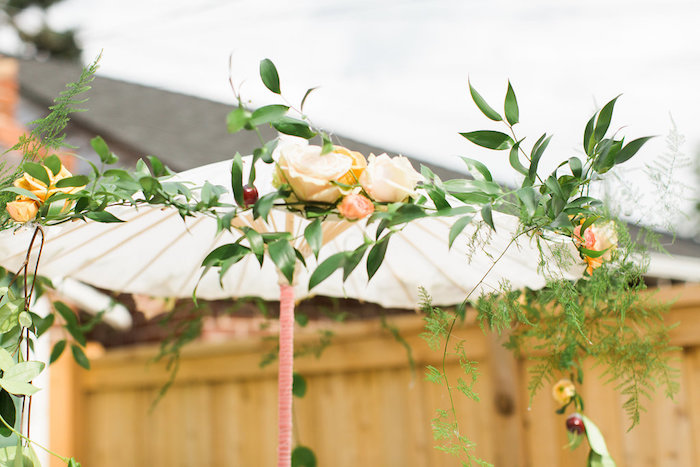 Garden Umbrella Canopy + Centerpiece from an Umbrella Bridal Shower on Kara's Party Ideas | KarasPartyIdeas.com (18)