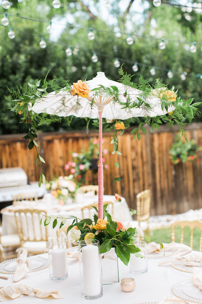 Garden Umbrella Canopy + Centerpiece from an Umbrella Bridal Shower on Kara's Party Ideas | KarasPartyIdeas.com (17)