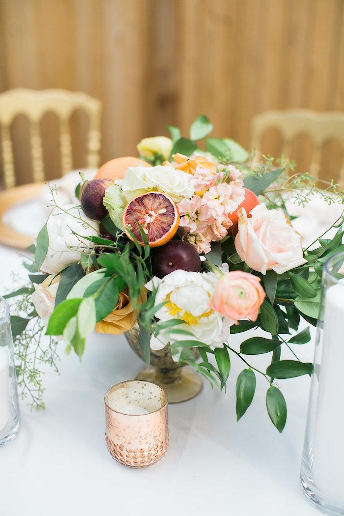 Floral Arrangement from an Umbrella Bridal Shower on Kara's Party Ideas | KarasPartyIdeas.com (15)