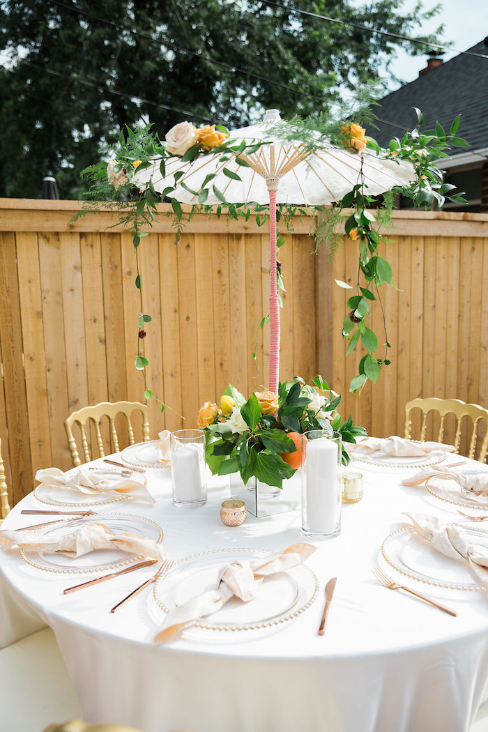 Umbrella Guest Table from an Umbrella Bridal Shower on Kara's Party Ideas | KarasPartyIdeas.com (12)