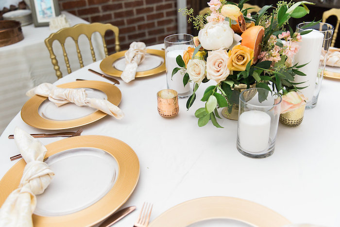 Elegant Table Settings From An Umbrella Bridal Shower On Kara S Party Ideas Karaspartyideas