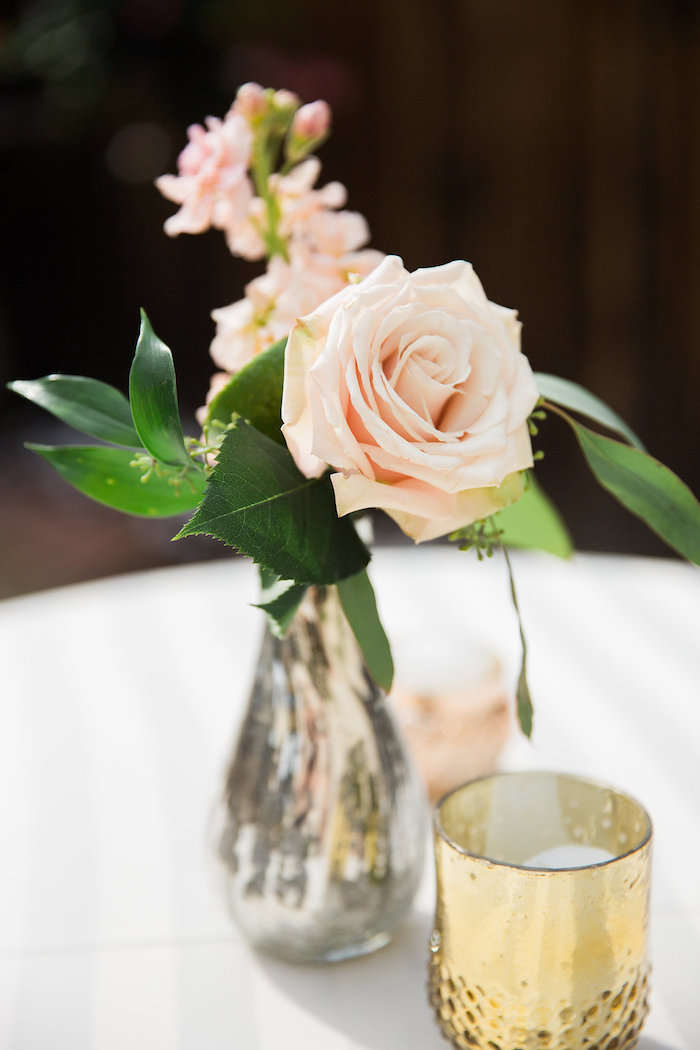Rose Centerpiece from an Umbrella Bridal Shower on Kara's Party Ideas | KarasPartyIdeas.com (8)