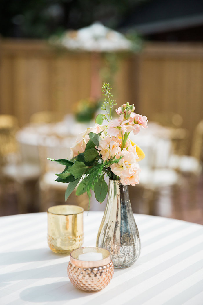 candle bloom centerpieces from an umbrella bridal shower on karas party ideas karaspartyideas