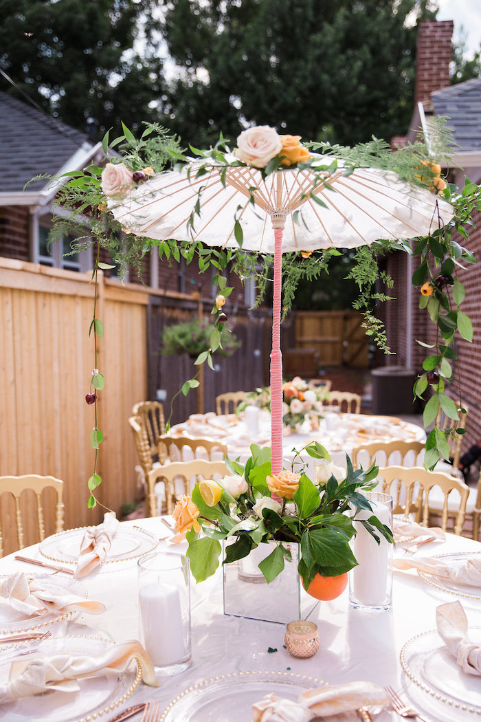 Umbrella Table Centerpiece from an Umbrella Bridal Shower on Kara's Party Ideas | KarasPartyIdeas.com (6)