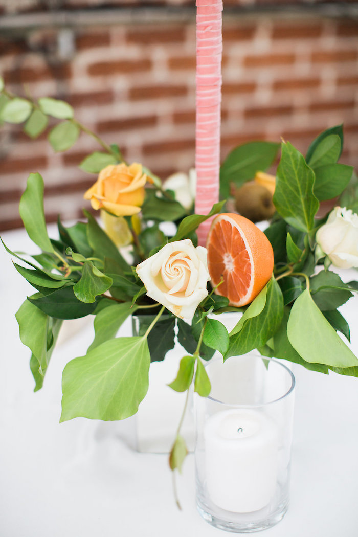 Floral Fruit Centerpiece from an Umbrella Bridal Shower on Kara's Party Ideas | KarasPartyIdeas.com (31)