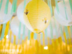 Honey Bee Paper Lantern from a Winnie the Pooh Garden Birthday Party on Kara's Party Ideas | KarasPartyIdeas.com (12)