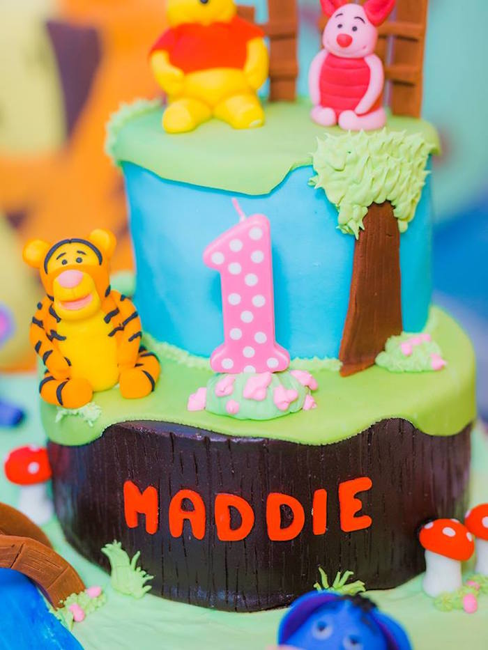 Winnie the Pooh Cake from a Winnie the Pooh Garden Birthday Party on Kara's Party Ideas | KarasPartyIdeas.com (11)