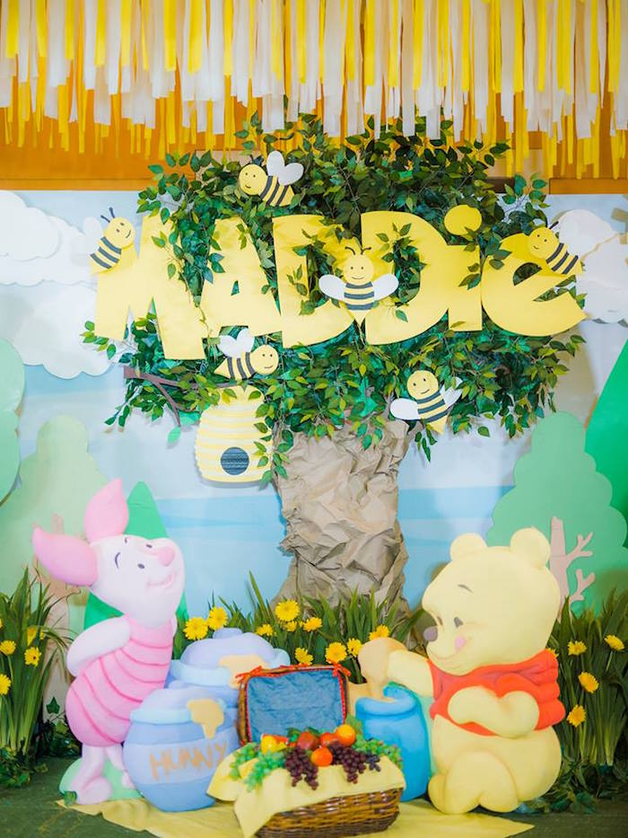 Winnie the Pooh Backdrop from a Winnie the Pooh Garden Birthday Party on Kara's Party Ideas | KarasPartyIdeas.com (9)