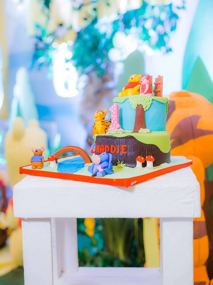 Winnie the Pooh Cake from a Winnie the Pooh Garden Birthday Party on Kara's Party Ideas | KarasPartyIdeas.com (7)