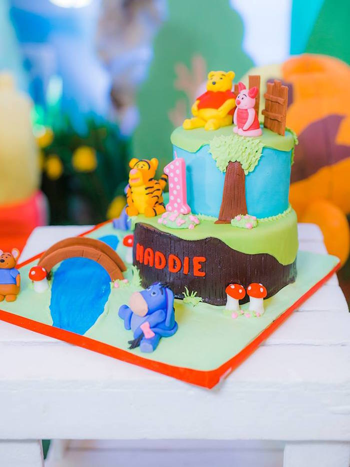 Winnie the Pooh Cake from a Winnie the Pooh Garden Birthday Party on Kara's Party Ideas | KarasPartyIdeas.com (6)