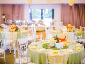 Guest tables from a Winnie the Pooh Garden Birthday Party on Kara's Party Ideas | KarasPartyIdeas.com (5)