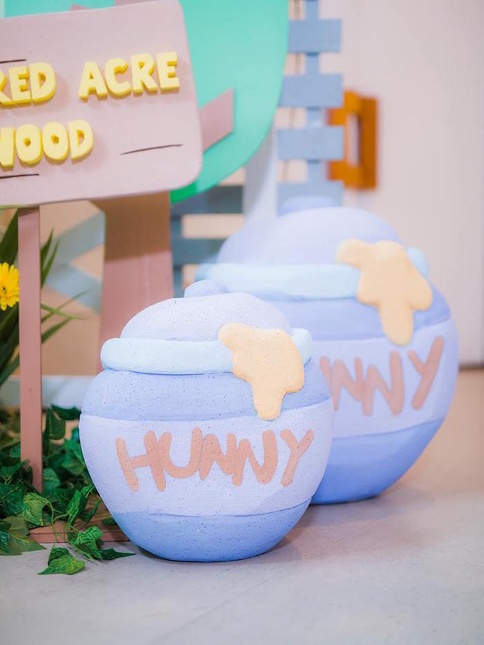 """Hunny"" buckets from a Winnie the Pooh Garden Birthday Party on Kara's Party Ideas 