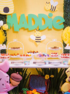 Honey Bee Dessert Table from a Winnie the Pooh Garden Birthday Party on Kara's Party Ideas | KarasPartyIdeas.com (21)