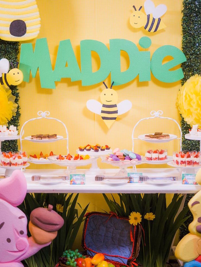 Honey Bee Dessert Table from a Winnie the Pooh Garden Birthday Party on Kara's Party Ideas | KarasPartyIdeas.com (21)
